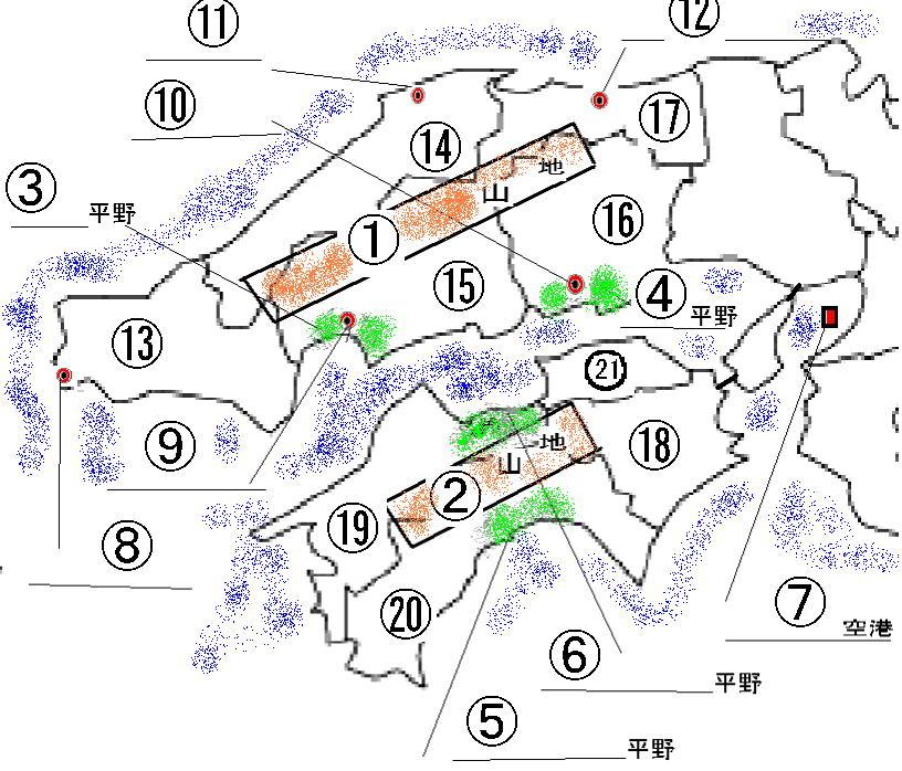 中国・四国地方の問題 : 日本地図 四国地方 : 日本